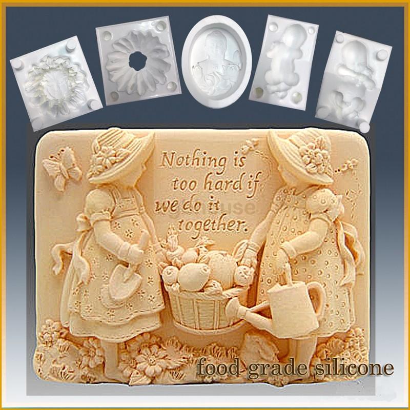 Gardening Girls - Detail of high relief sculpture - Food grade