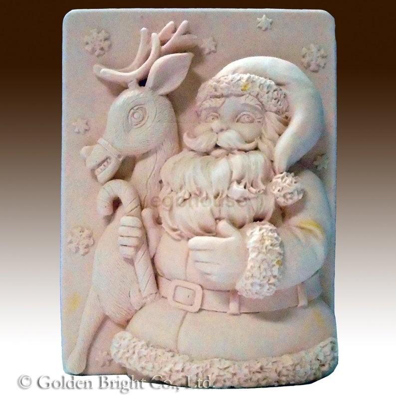 Snowflake Santa and Reindeer - Detail of high relief sculpture food grade mold