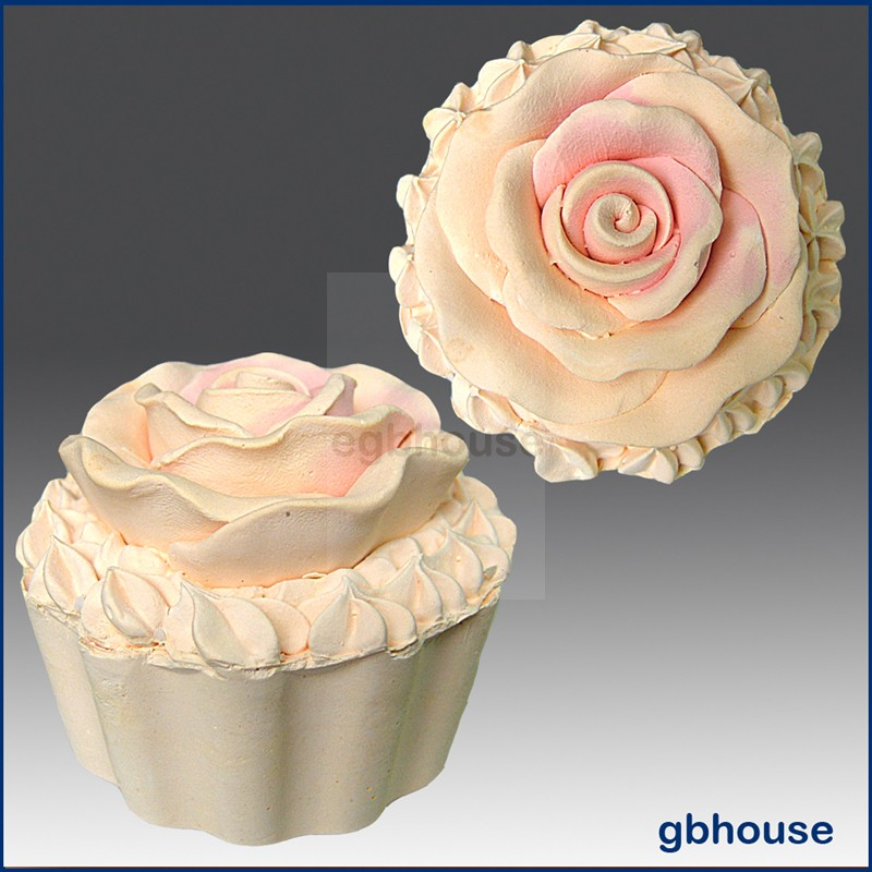 Cup Cake with Rose Icing - 3D Soap and Candle Mold