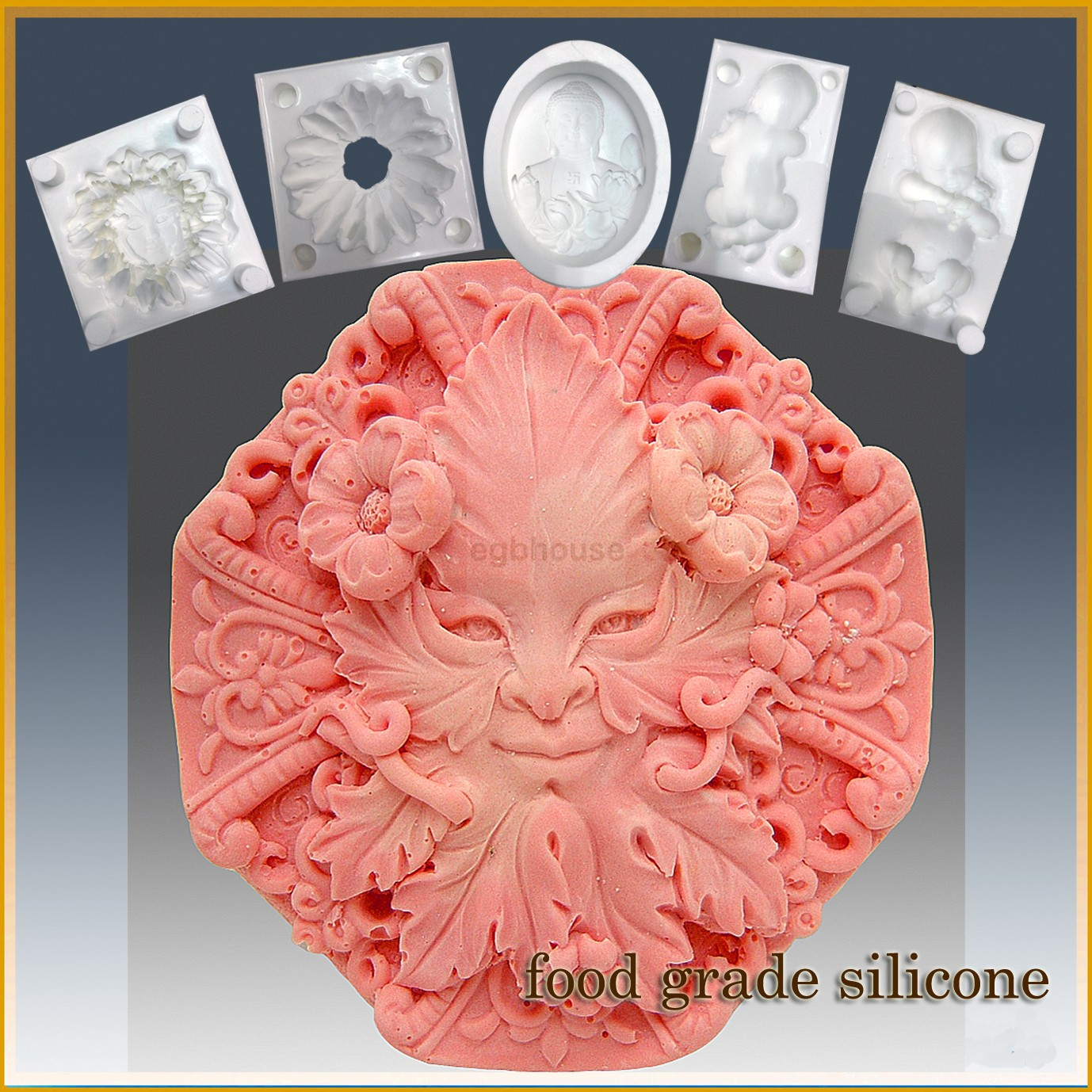 Smiling Rosette Octagon- Detail of high relief sculpture - Food grade