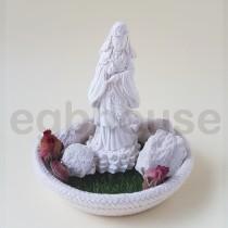 Buddha Kwan In w/real-like grass mat and rope dish 淨念吉祥小佛之立像觀音 青草地繩盤套組