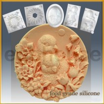 Baby Chicks with Flowers- Detail of high relief sculpture - Food grade