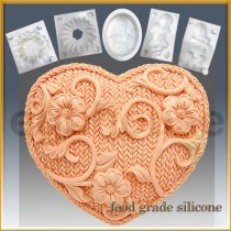 Crochet Heart- Detail of high relief sculpture - Food grade