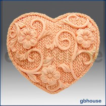 Crochet Heart- Detail of high relief sculpture