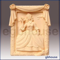 Southern Belle in Rose Frame- Detail of high relief sculpture
