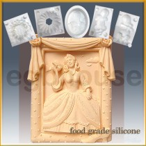 Southern Belle in Rose Frame  - Detail of high relief sculpture - Food grade