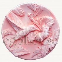 Hummingbird in Hibiscus Garden  - Detail of high relief sculpture