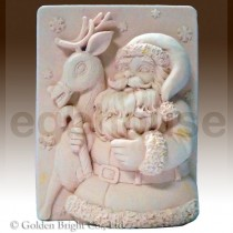 Snowflake Santa and Reindeer - Detail of high relief sculpture food grade mold