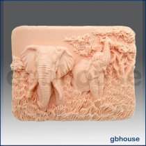 Enchanting Elephants - Detail of high relief sculpture