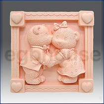 Teddy Bear Kiss - Detail of high relief sculpture