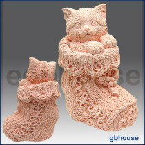 Kitten in Crochet Bootie - 3D Soap and Candle Mold