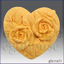 Mini Twin Roses Heart -2 cavities- Detail of high relief sculpture