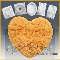 Mini Sunflower Heart-2 cavities- Detail of high relief sculpture - Food grade