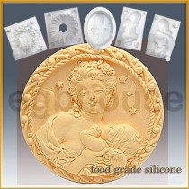 Mother and Cherub Round  - Detail of high relief sculpture - Food grade