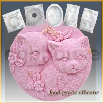Pair of Kittens - Round- Detail of high relief sculpture - Food grade