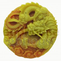 Lucky Dragon Medallion - Detail of high relief sculpture