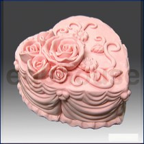 Heart Shape Rose Wedding Cake - Detail of high relief sculpture - Food grade