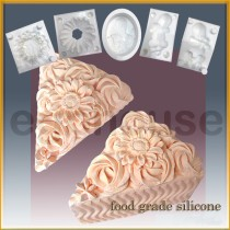 Cake Slice - Blossoming  - Detail of high relief sculpture - Food grade
