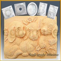Trio of Puppies - Bar - Detail of high relief sculpture - Food grade