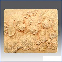 Trio of Puppies - Bar - Detail of high relief sculpture