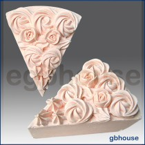 Wedding cake slice with Rose and icing top - Detail of high relief sculpture