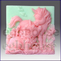 Altair and Cintara- Unicorn Ponie - Detail of high relief sculpture