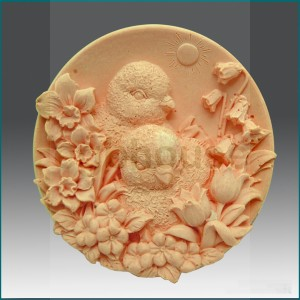 Baby Chicks with Flowers - Detail of high relief sculpture