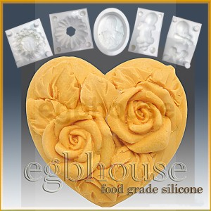 Mini Twin Roses Heart -2 cavities- Detail of high relief sculpture - Food grade