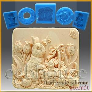 Missy's Garden & Bunny- Detail of high relief sculpture - Food grade