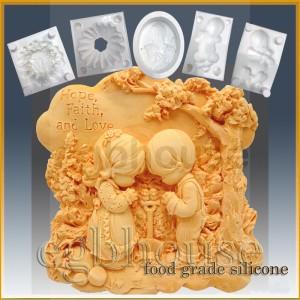 Friends Praying - Detail of high relief sculpture - Food grade