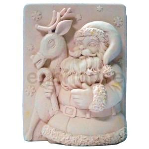 Snowflake Santa and Reindeer - Detail of high relief sculpture